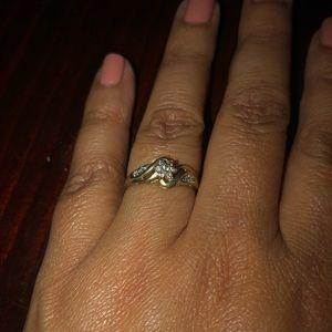 Gold and petite diamond ring